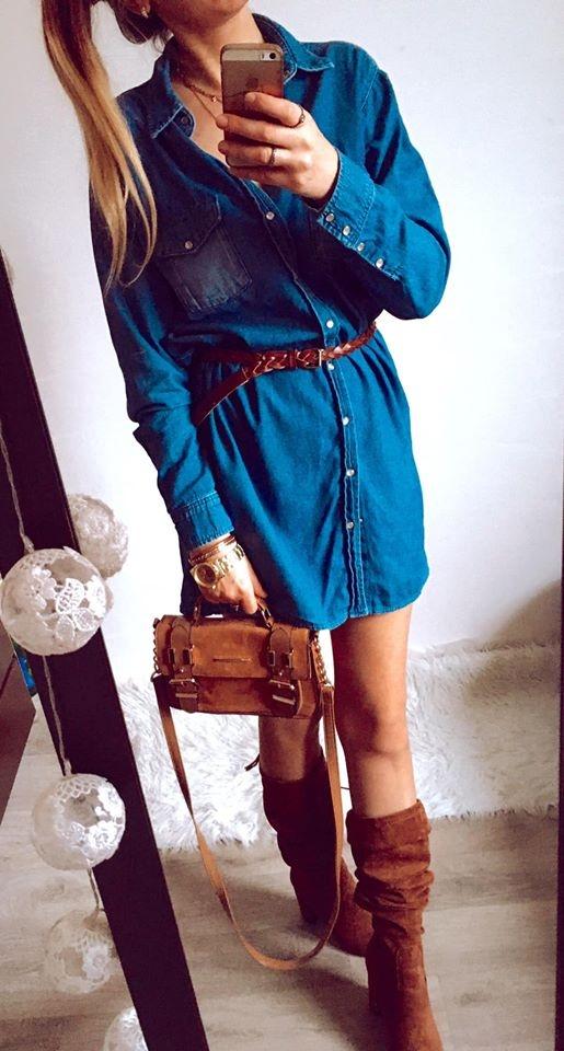 Suknie i sukienki Sukienka Damska jeansowa M L