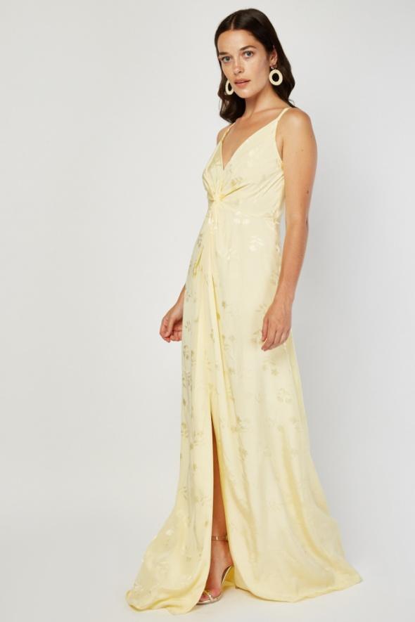 Suknie i sukienki Nowa sukienka Monsoon 6 XS 36 długa maxi jasno żółta żakardowa wzór kwiatów jedwab