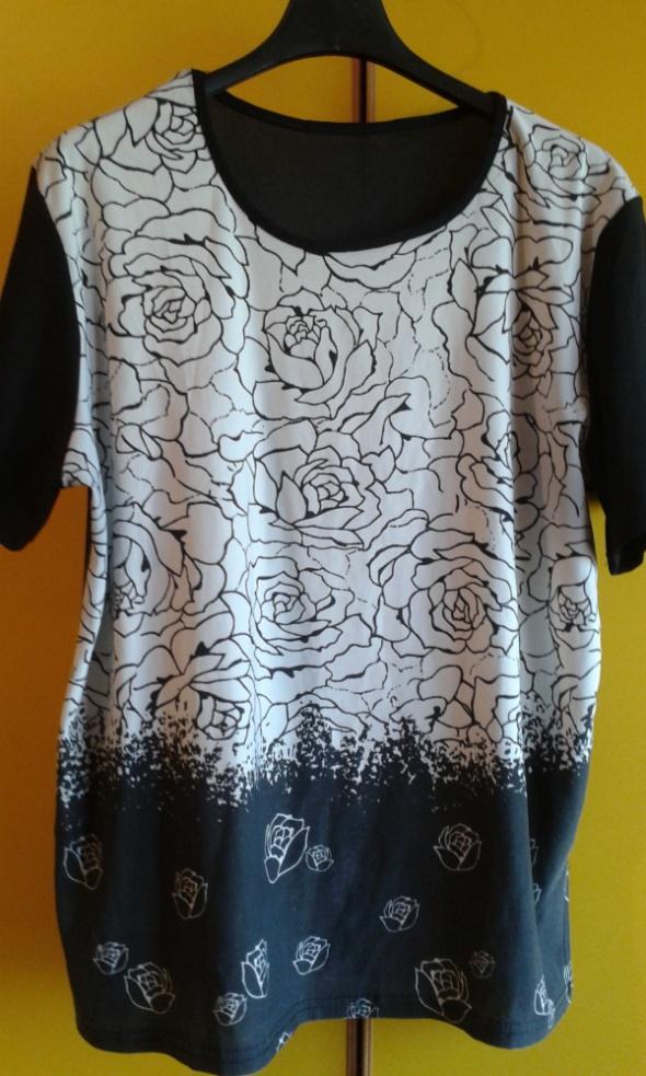 Bluzki czarno biała w różyczki