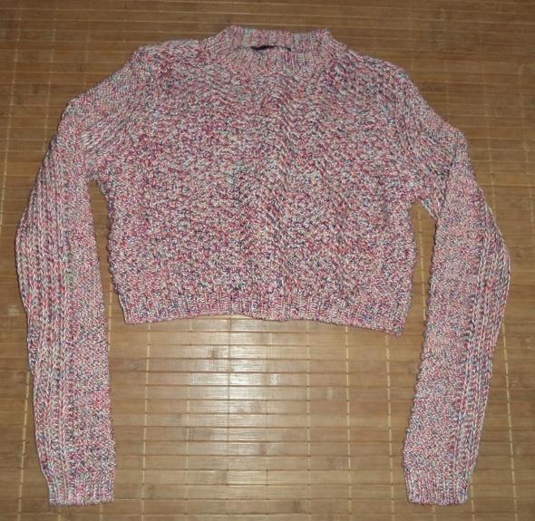 Sweter krótki kolorowy ażurowy pleciony