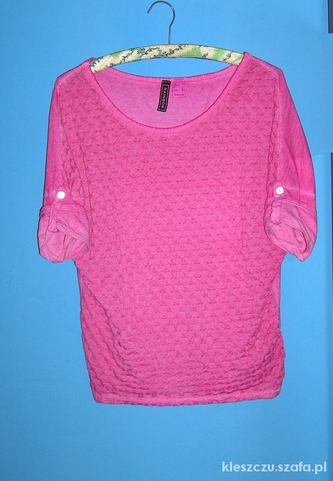 Bluzki pikowana koszulka różowa oversize