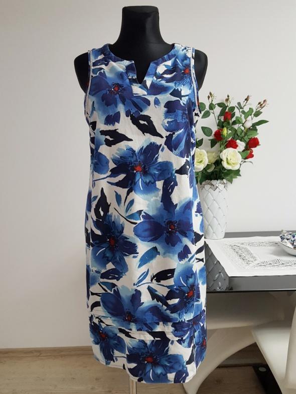 niebiesko biała sukienka George...