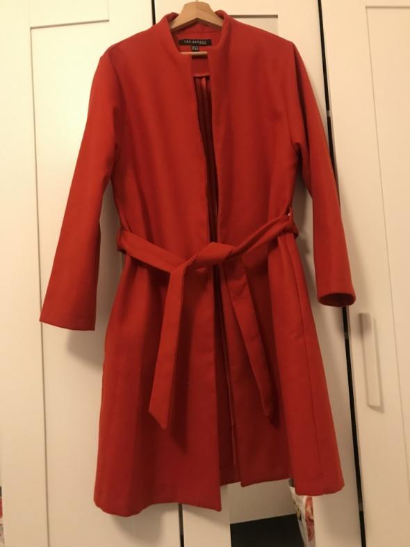 Czerwony luźny płaszcz 36 38 S M top secret szlafrokowy klasyczny pasek