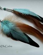 kolczyki pióra howlit srebrne kolorowe indiańskie...