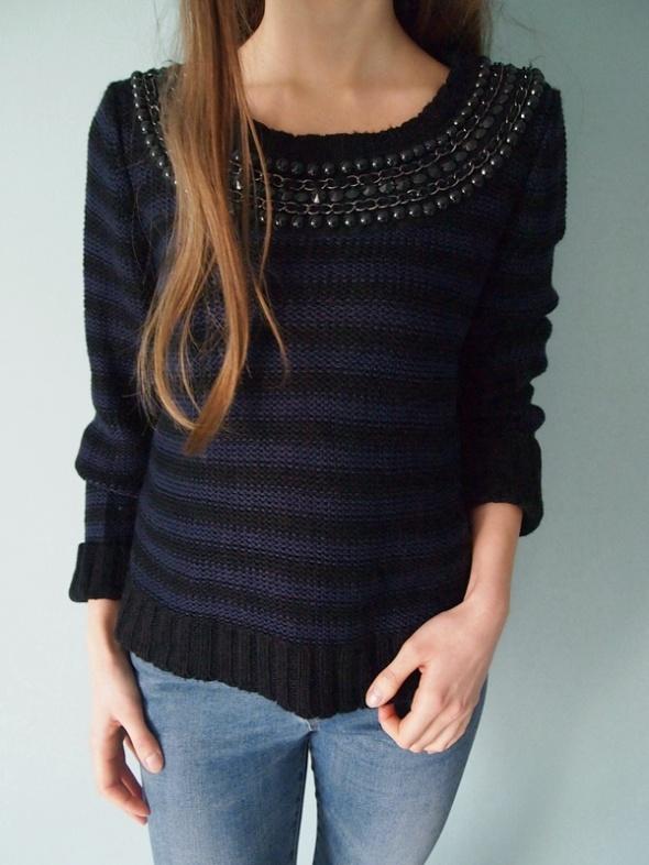 Granatowo czarny sweter w paski New Look 42 XL L M...
