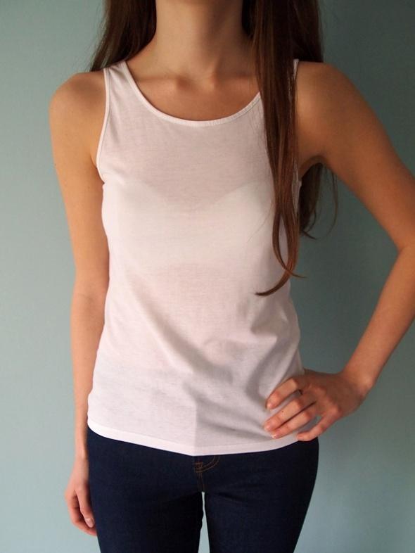 Biały top H&M XS XXS bluzka bez rękawów koszulka...