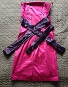 MODNA POLSKA sukienka różowa gorsetowe wiązanie rozm S 36 NOWA...