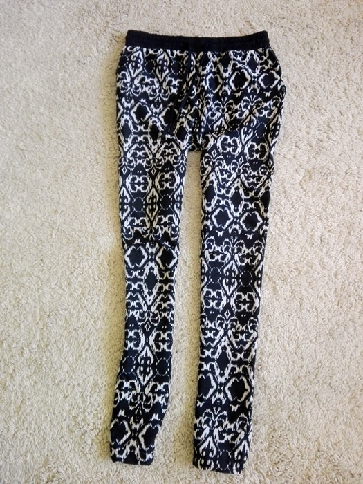 spodnie alladynki luźne lato czarnobiałe XS S...