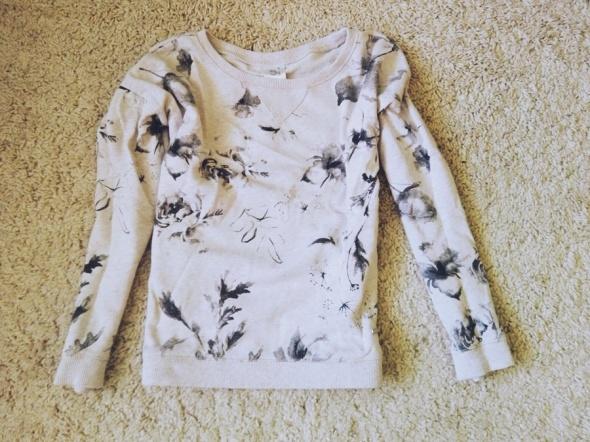 bluza floral kwiaty beżowa sinsay XS S...