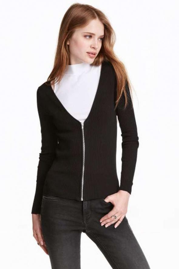 czarny sweter kardigan h&m xs 34 s 36 zip suwak za
