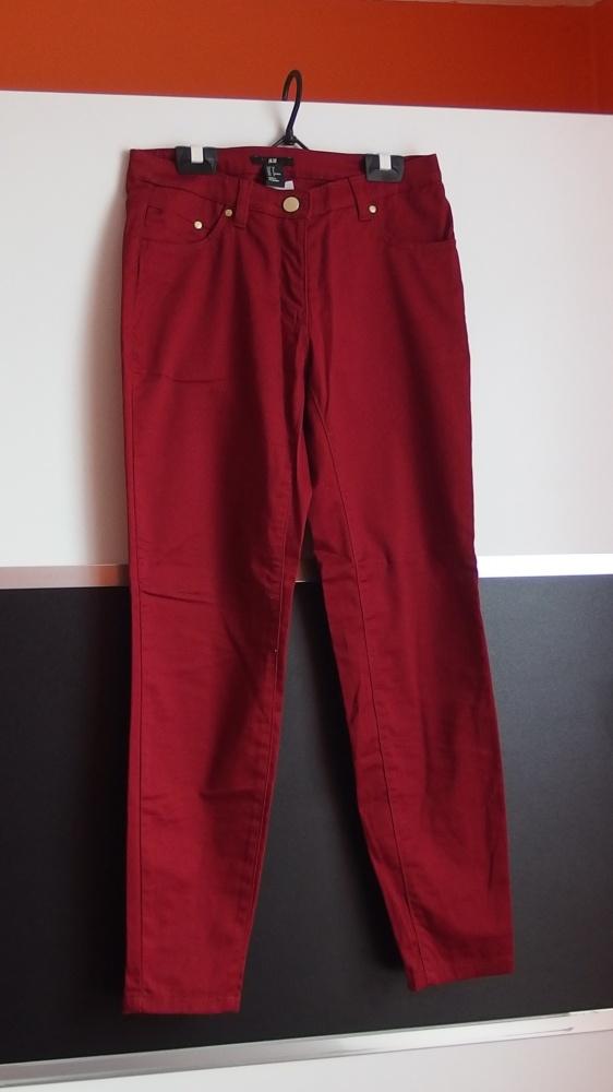Burgundowe spodnie h&m zamki na dole xs 34