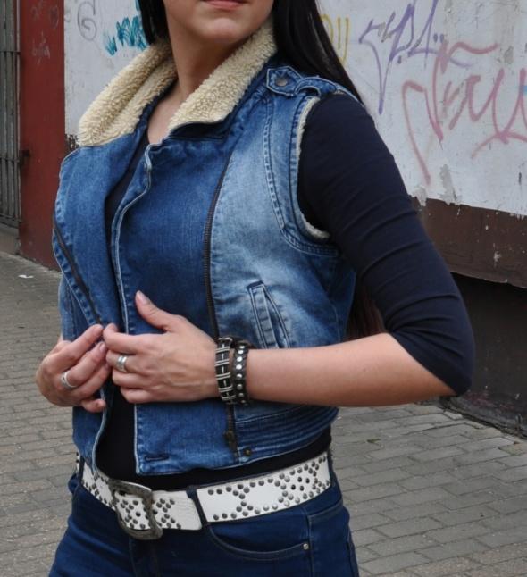 jeansowa kamizelka ramoneska z kożuszkiem...