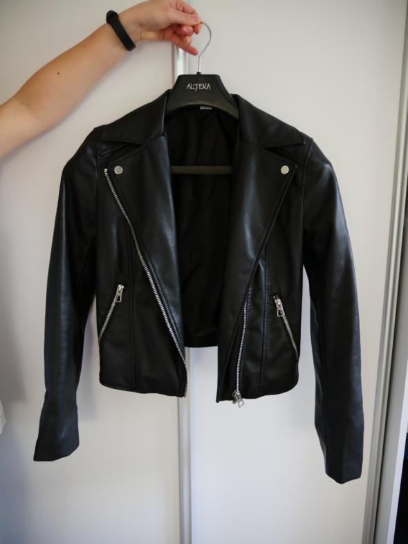 Ramoneska H&M kurtka skórzana czarna ekoskóra