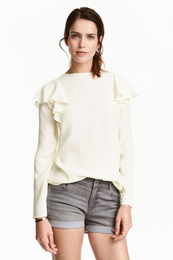 Bluzka H&M falbany kremowa S krepa ecru biel kosc sloniowa nowa
