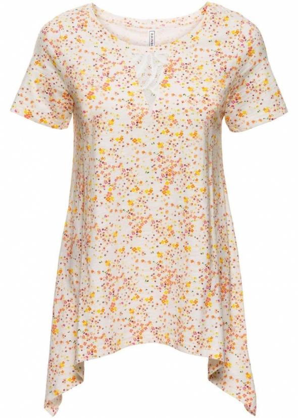 Asymetryczna bluzka w kwiatki koronka...