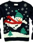christmas świąteczny sweter bałwan S 36