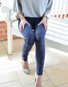 Spodnie jeansy rurki z przeszyciami