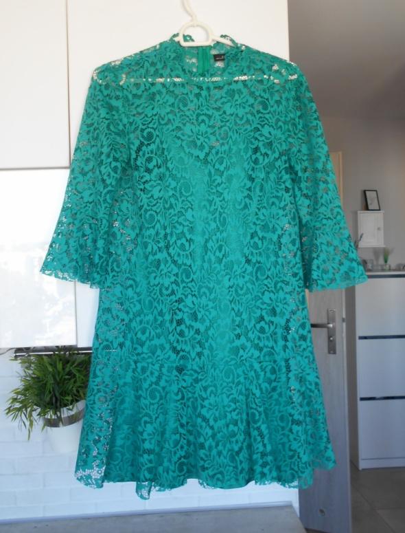 Zara zielona koronkowa sukienka butelkowa zieleń...
