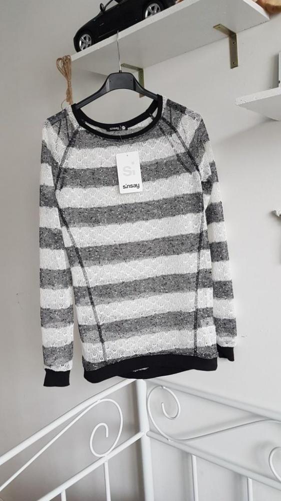 SinSay nowy sweterek mgiełka siateczka paski