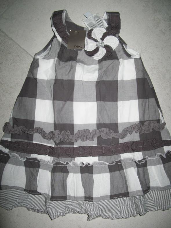 NEXT szara sukienka w kratkę dziewczynka roz 86