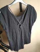 Grafitowa bluzka z krótkim rękawem z plecionymi sznurkami M...