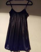 sexy piżamka piżama czarna błyszcząca transparent M bordowa...