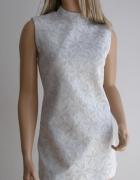 sukienka srebrna nitka zdobiona 40 mini święta...