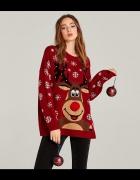 Nowy damski czerwony świąteczny sweter z reniferem Stradivarius...