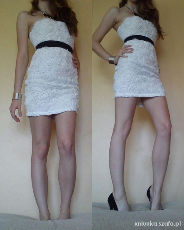 Tally Weijl bandażowa biała sukienka tłoczone róże...