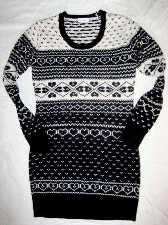 dłuższy sweter New Look S M czarno biały