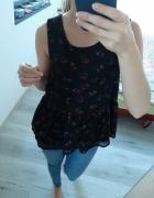 Czarna zwiewna bluzka szyfonowa baskinka kwiatki kwiaty róże XS...