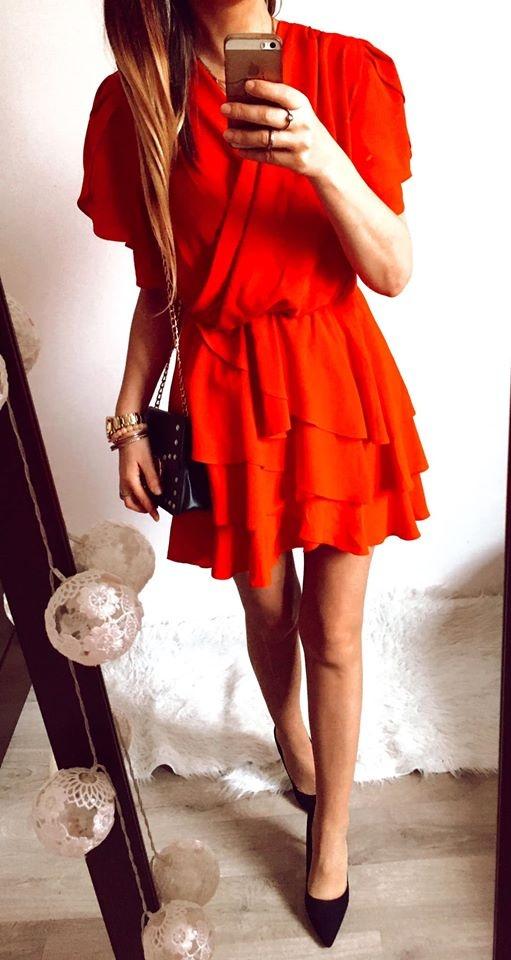Suknie i sukienki Sukienka Damska rozkloszowana czerwona M
