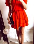Sukienka Damska rozkloszowana czerwona M...
