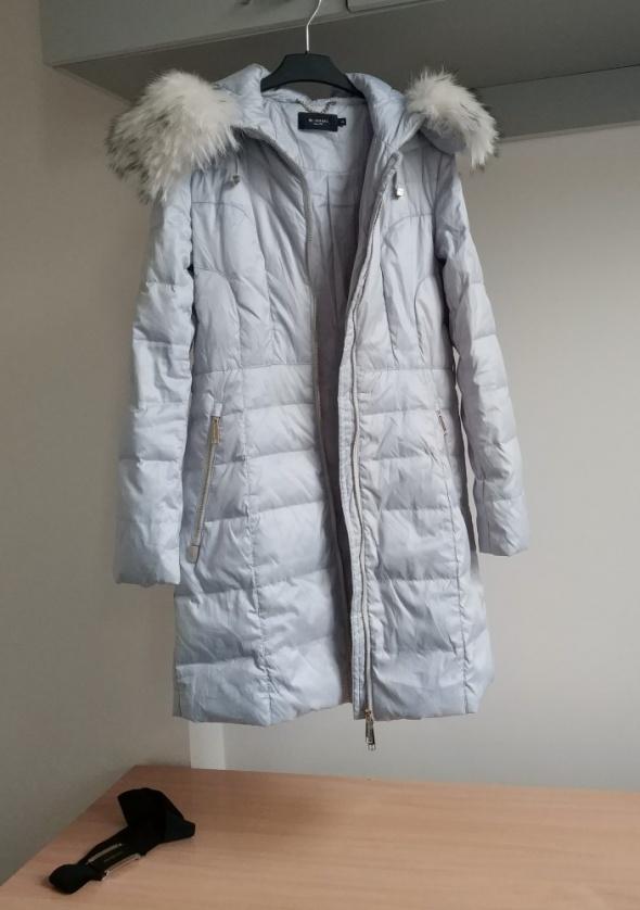 Monnari kurtka puchowa płaszcz puch naturalny szara błękitna dluga