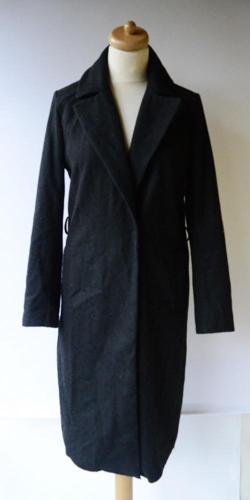 Płaszcz Czarny Bik Bok XS 34 Long Elegancki Trencz Długi