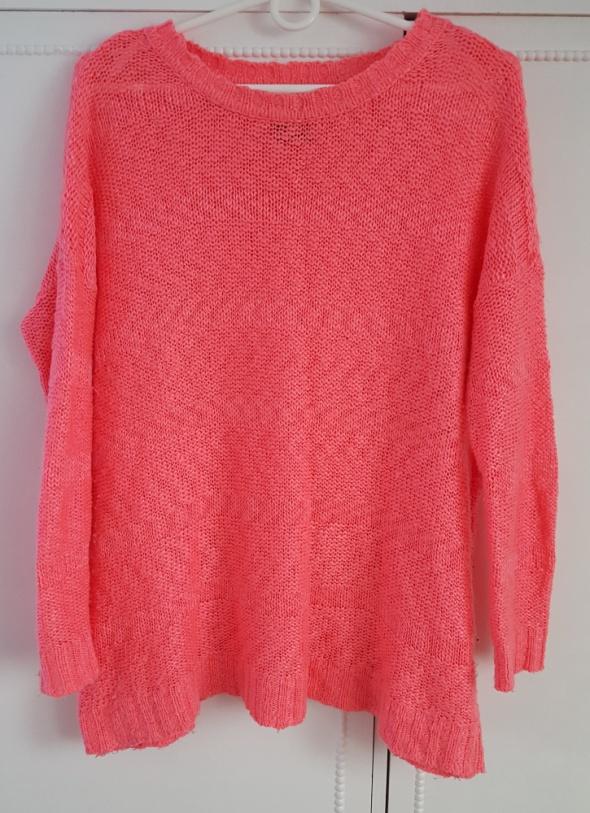 Pomarańczowo różowy sweter Reserved 38 M lekki oversize...