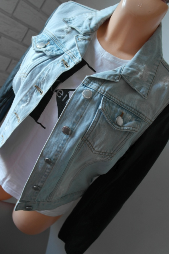 Miss Selfridge jasna jeansowa przecierana kurtka skórzane rękawy