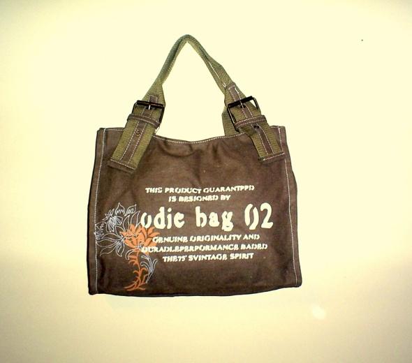 Nowa torebka brązowa z napisami