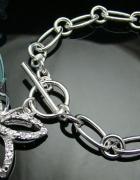 Srebrna bransoletka z motylkiem i diamencikami 925