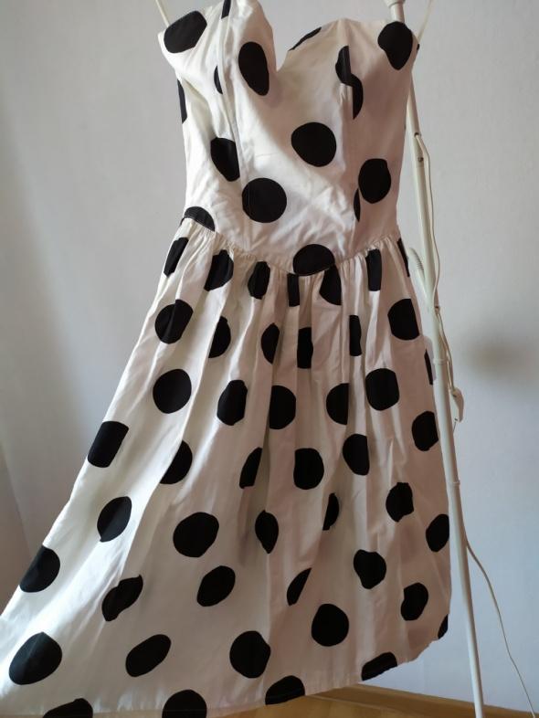 Suknie i sukienki Sukienka gorsetowa bez ramiączek w grochy rozm 38 40