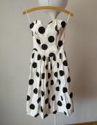 Sukienka gorsetowa bez ramiączek w grochy rozm 38 40...