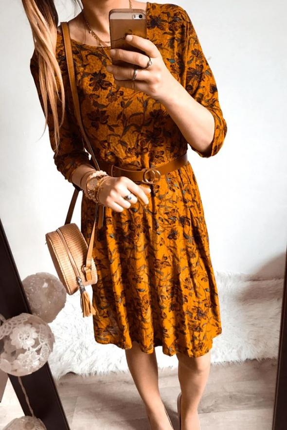Sukienka Damska rozkloszwana w kwiaty elegancka L