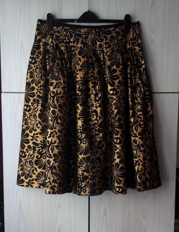 Elegancka spódnica złota czarna metaliczny print kwiaty floral vintage wigilia święta Sylwester karnawał Editions