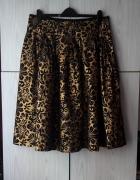 Elegancka spódnica złota czarna metaliczny print kwiaty floral ...