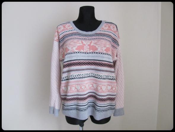 Sweter kolorowy wzorek serca króliczki ONE SIZE