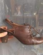 Buty skora Brąz bez Pięty wiązane Ryłko 37 5 37...