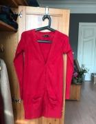 Czerwony długi sweter Zara 36 S...