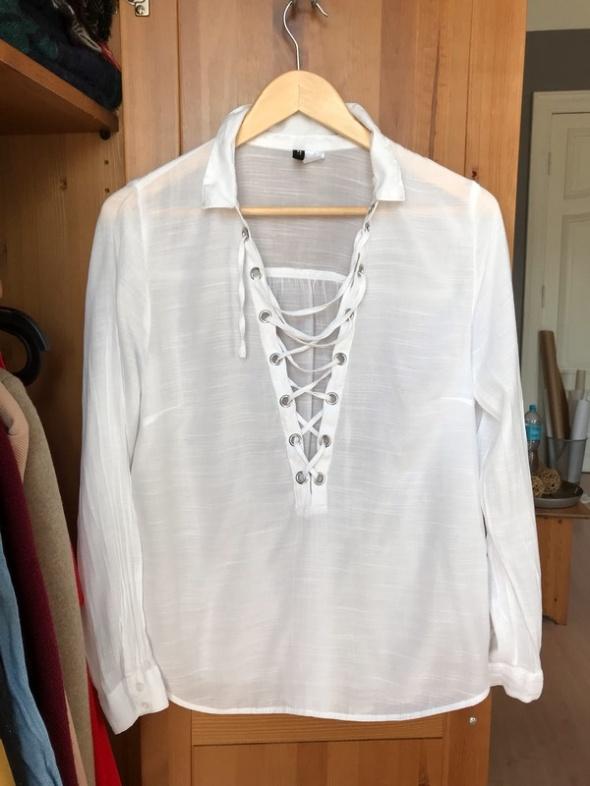 Biała koszula wiązana 42 XL H&M