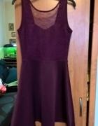 bordowa sukienka pianka koronka XS S