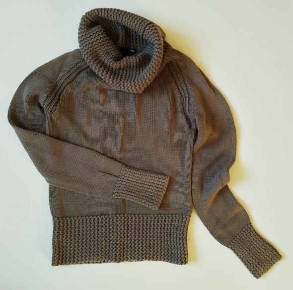 H&M Sweter Damski Khaki z Kominkowym Kołnierzem M...
